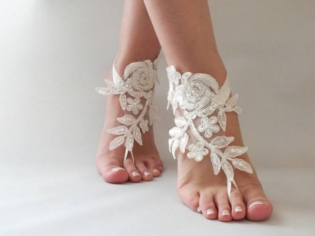 wedding photo - Ivory Beach wedding barefoot sandals, bangle, wedding anklet, FREE SHIP, Bridal Lace Sandals wedding gift bridesmaid sandals Bridal anklet - $32.90 USD