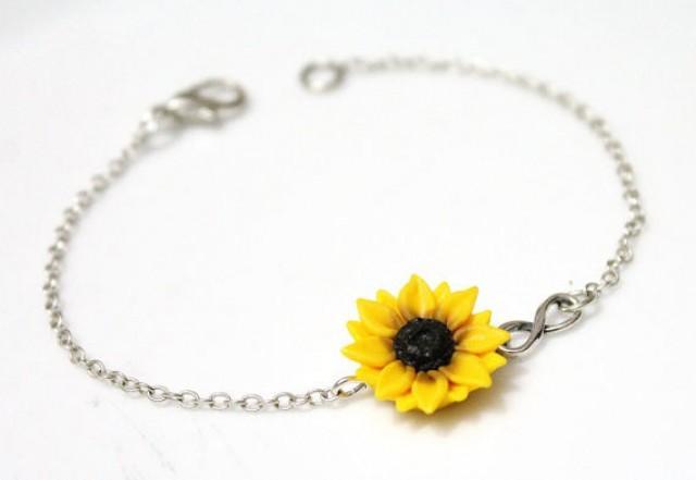 wedding photo - Sunflower Infinity Bracelet, Sterling Silver Bracelet, Sunflower Bridesmaid Jewelry, Sunflower Jewelry, Bridal Flowers, Bridesmaid Bracelet
