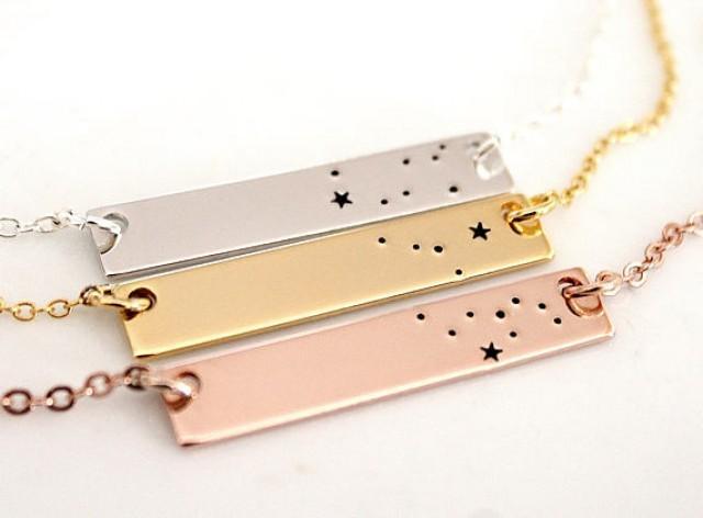 wedding photo - Gemini Gold Plated, Constellation, Bar Necklace, Necklace Silver Plated, Gemini Necklace, Zodiac Necklace, Zodiac Jewelry, Birthday Gift