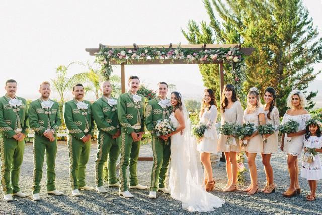 The Groom Groomsmen Wore Green Charro Suits At This Wild Baja California Wedding Weddbook