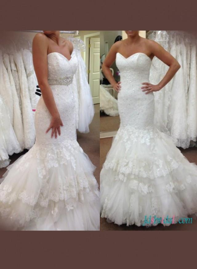 wedding photo - Stunning sweetheart neck lace mermaid wedding dress