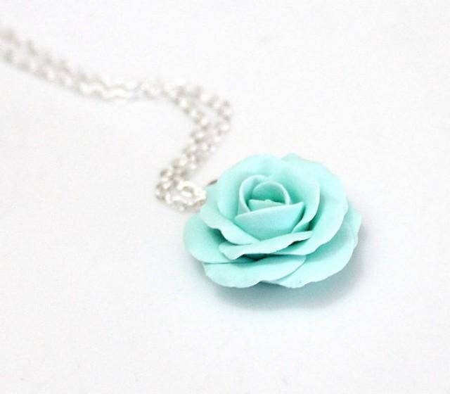 wedding photo - Mint green rose, mint green flower necklace, mint Rose necklace, Wedding Jewelry Gift
