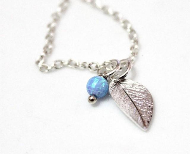 wedding photo - Opal Sterling Silver Necklace with Leaf Charm personalized gift for women initial jewelry