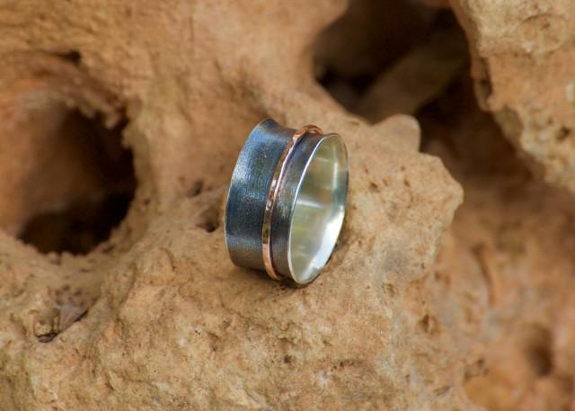 wedding photo - Anxiety Ring - Spinner Ring - Worry Ring - Spinning Ring - Meditation Ring - Fidget Ring - Everyday Gold Silver Ring 1 Band - FREE SHIPPING - $85.00 USD