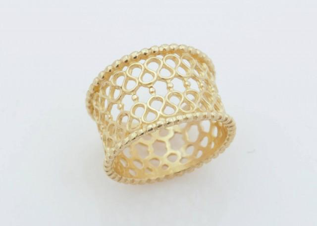 wedding photo - Filigree gold ring, lace gold ring, Gold Filigree Band, Infinity gold ring, Textured gold ring, Wide gold ring, Wide Wedding Band - $230.00 USD