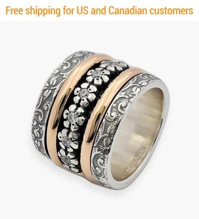 wedding photo - Oxidized Silver and Gold Spinner Ring, Cubic Zirconia Spinner Ring, Wide Spinner Ring, Floral Spinner Ring, Wide spinner Ring, Spinner Band - $450.00 USD
