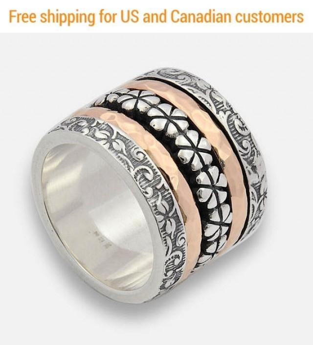 wedding photo - Silver and Gold Floral Spinner Ring, large spinner Ring, Flower Spinner Band, Two tone Wedding Ring, Unique Handmade Band, Silver Thumb Ring - $350.00 USD