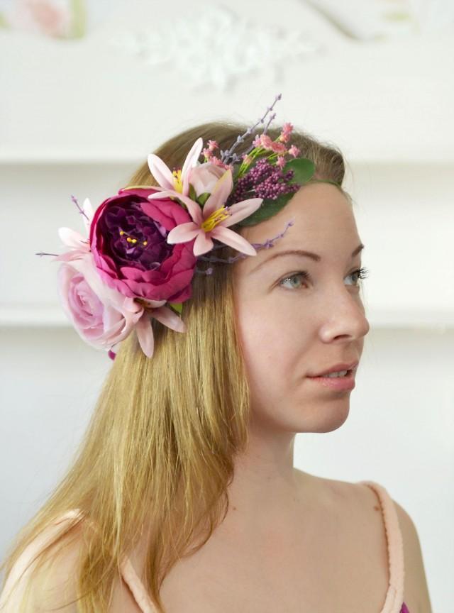 wedding photo - Bridal crown Purple peony crown Lilies head wreath Wedding summer flowers halo bride Boho wedding crown - $57.00 USD