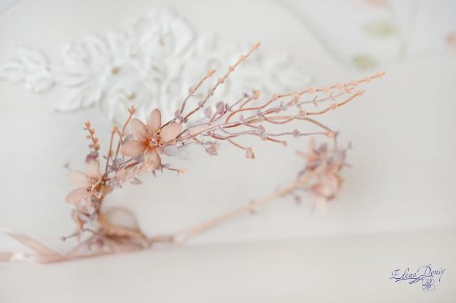 wedding photo - Rustic crown bridal Beige floral crown branches head piece elven wedding crown Flowers halo rustic headband peach flowers - $25.00 USD
