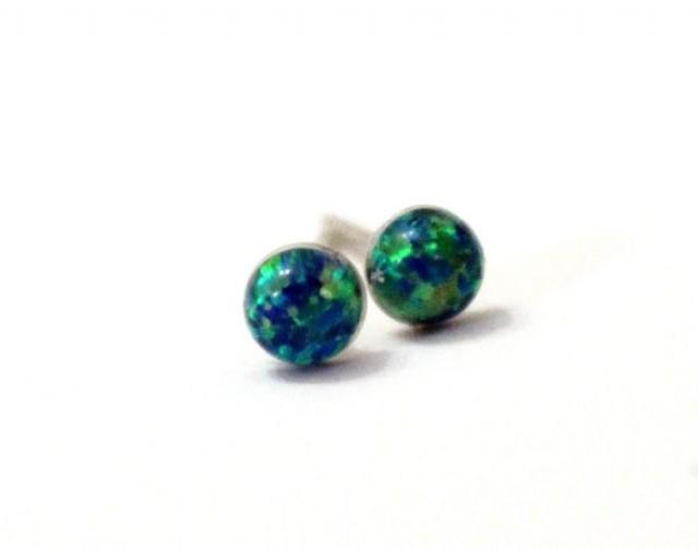 wedding photo - Opal Stud Earrings, Emerald Green Opal Stud Earrings, Post Earrings With Opal Stone, Everyday Earrings, Christmas Gift