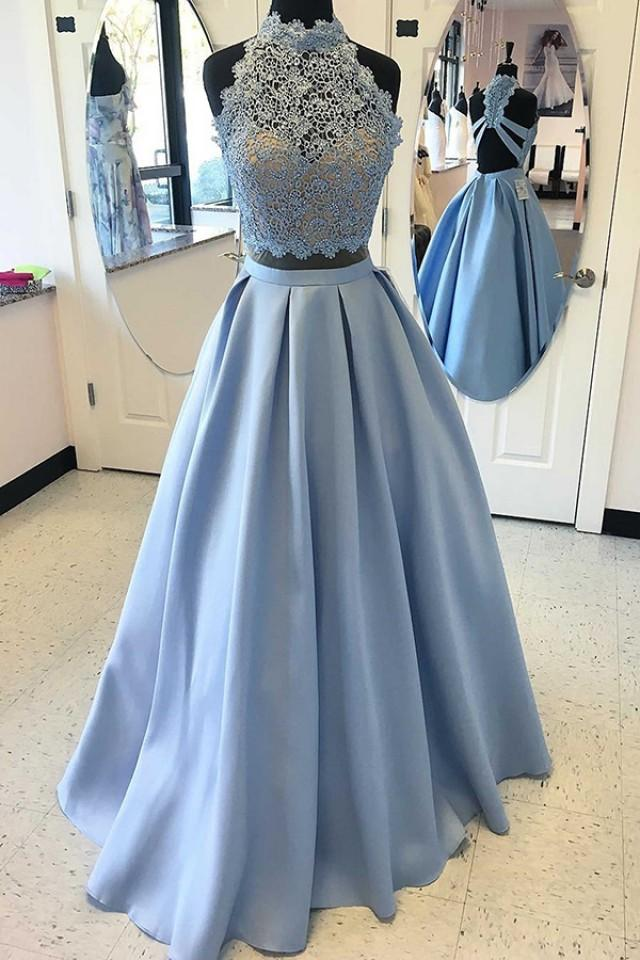 wedding photo - Two Piece High Neck Blue Satin Floor-length Criss-cross Straps Appliques Prom Dress