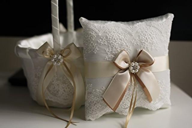 wedding photo - Champagne Wedding Basket  Champagne Wedding Pillow  Champagne Flower Girl Basket  Champagne Ring Bearer Pillow  Champagne Bearer
