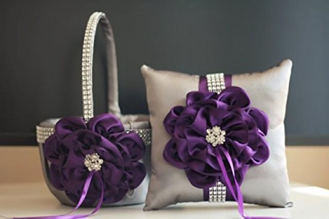 wedding photo - Plum Flower Girl Basket   Gray Ring Bearer Pillow  Egg Plant Wedding Basket   Gray Ring Holder  Plum Wedding Pillow   Plum Wedding basket