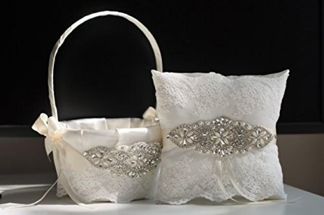wedding photo - Ivory Flower Girl Basket & Jewel Ring Bearer Pillow  Ivory Wedding Basket Pillow Set  Brooch Bearer   Wedding Sash Belt  Brooch Basket