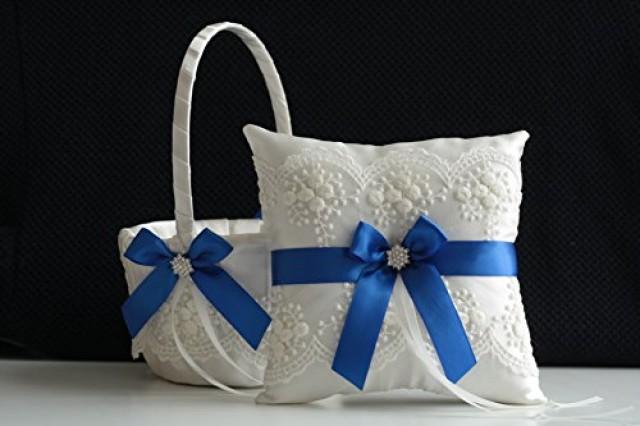 wedding photo - Ivory Royal Blue Flower Girl Basket & Jewel Ring Bearer Pillow  Ivory Royal Blue Wedding Basket Pillow Set  Brooch Bearer   Wedding Sash Belt  Brooch Basket