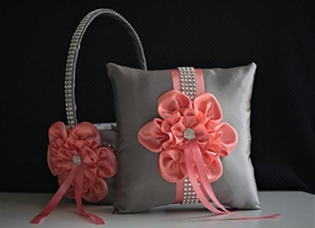 wedding photo - Gray Flower Girl Basket  Gray Coral Bearer  Gray Coral Wedding Basket  Gray Coral Pillow  Coral Ring Bearer Pillow  Gray Wedding Basket