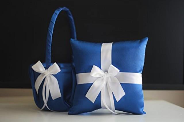 wedding photo - Royal Blue Wedding Basket  Royal Blue Bearer Pillow  Royal Blue Flower Girl Basket  Royal Blue Wedding Pillow Basket Set  Royal Blue Basket
