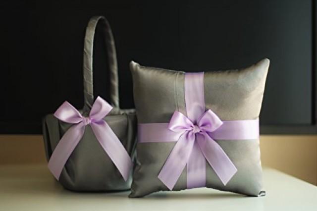 wedding photo - Violet Wedding Basket   Gray Ring Bearer Pillow  Gray Purple Flower girl basket  Wedding Ring Holder  Lilac Wedding Bearer basket set