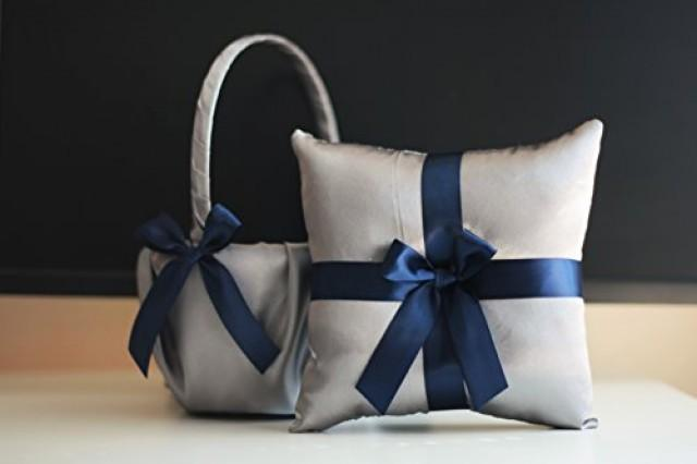 wedding photo - Gray Navy Blue Flower Girl Basket with Ring Bearer Pillow Set / Anchor Wedding Basket / Anchor Wedding Pillow / Anchor Wedding Bearer