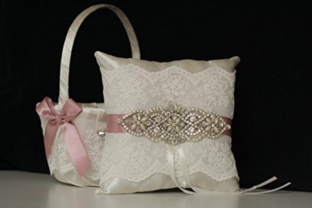wedding photo - Mauve Flower Girl Basket and Ring Bearer Pillow  Blush pink bearer  Mauve Wedding Basket  Mauve Ring Pillow  Mauve Bridal Sash Belt