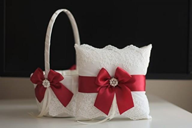 wedding photo - Ivory Scarlet Red Flower Girl Basket & Jewel Ring Bearer Pillow  Ivory Scarlet Red Wedding Basket Pillow Set  Brooch Bearer   Wedding Sash Belt  Brooch Basket