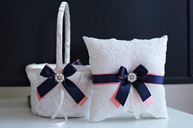 wedding photo - Coral Navy Wedding Basket   Ring Bearer Pillow  Navy Blue and Coral Wedding Pillow, Flower Girl Basket  Lace Bearer  Coral Wedding Basket