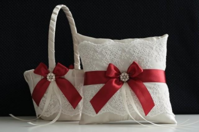wedding photo - Champagne Scarlet Red Ring Bearer Pillow  Champagne Scarlet Red Flower Girl Basket  Champagne Scarlet Red Wedding Basket Pillow Set  Champagne Scarlet Red Wedding Pillow
