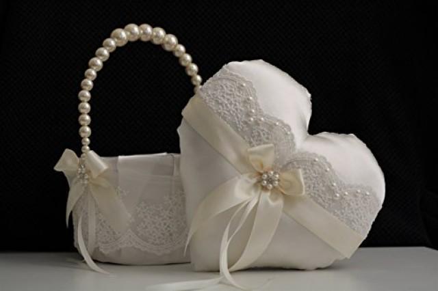 wedding photo - Ivory Flower Girl Basket   Heart Ring Bearer  Pearl Handle Basket  Ivory Wedding Basket, Heart Ring Pillow, Lace Wedding Basket Pillow Set