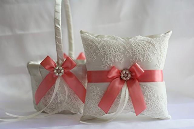 wedding photo - Coral Wedding Pillow Basket Set  Coral Lace Ring Pillow   Flower Girl Basket Set  Ivory Coral Wedding Basket   Ring bearer Pillow