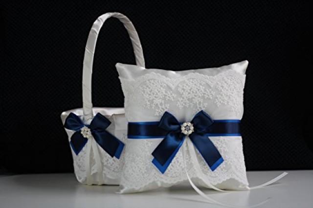 wedding photo - Royal Navy Wedding Basket  Royal Navy Bearer Pillow  Blue Flower Girl Basket  Blue Wedding Pillow Basket Set  Royal Navy Basket