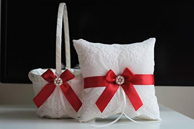 wedding photo - Red Ring Bearer Pillow  Red Flower Girl Basket  Wedding Ring Holder  Red Wedding Basket Pillow Set  Red Wedding Pillow  Red Ring Pillow