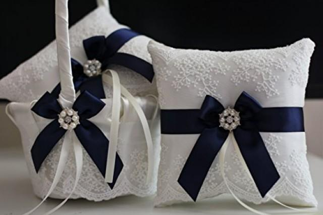 wedding photo - Navy Blue Flower Girl Baskets   Navy Blue Wedding Pillow  Navy Wedding Baskets  Navy Ring Bearer Pillow with Lace  Lace Petals Baskets