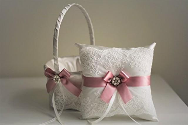 wedding photo - Mauve Wedding Flower Girl Basket   Ring Bearer Pillow  Lace Wedding Pillow Holder   Petals Wedding Basket Set with mauve bows