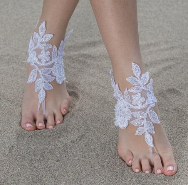 wedding photo - White Beach wedding Barefoot Sandals White Lace Barefoot Sandals, Lace Barefoot Sandals, Bridal Lace Shoes,Foot Jewelry Bridesmaid Sandals, - $28.90 USD
