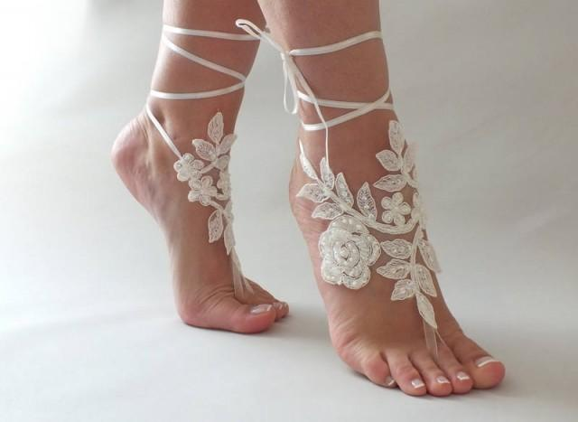 wedding photo - Beach wedding Barefoot Sandals Ivory White Pearl Hand process Lace Barefoot Sandals, Bridal Lace Sandals, Bridal Lace Shoes, French lace - $25.90 USD