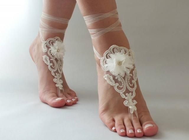 wedding photo - FREE SHIP Ivory lace barefoot sandals Flowers wedding sandals, Bridal Lace Shoes Beach wedding barefoot sandals, Lariat sandals, Bridesmaid - $25.90 USD