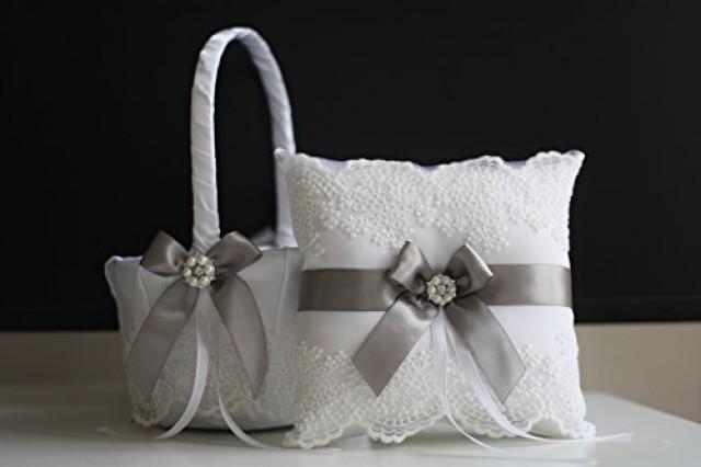 wedding photo - Gray Bearer Pillow & Lace Wedding Basket, Off-White Gray Wedding Flower Girl Basket   Ring Bearer Pillow, Gray Lace Bearer Pillow Basket Set