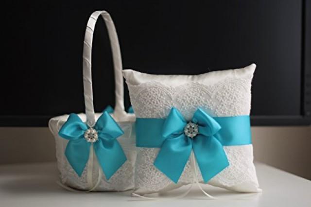 wedding photo - Turquoise Flower Girl Basket   Ring Bearer Pillow   2 Bridal Garters Set  Sky Blue Ring Bearer   Wedding Basket Set   Blue Wedding Garters