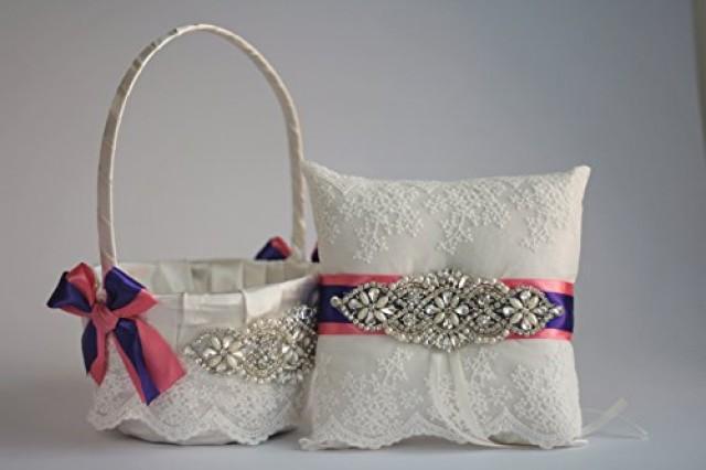 wedding photo - Wedding Flower girl basket and ring bearer pillow set Coral and Purple with rhinestones   wedding Bridal sash belt   Coral Bridal Garter Set
