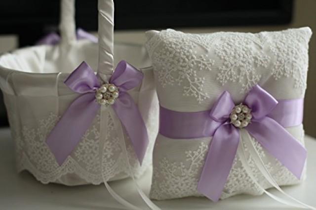 wedding photo - Violet Wedding Bearer Pillow  Violet Flower Girl Basket  Wedding Ring Holder  Lace Wedding Basket  Purple Wedding Basket Pillow Set
