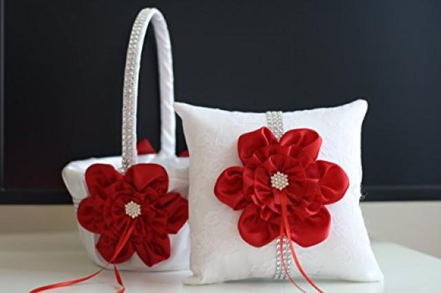 wedding photo - White Red Bearer Basket Set  Red Flower Girl Basket  Red wedding Pillow, Red Ring bearer Pillow, Red Pillow Basket Set, Red Petals Basket
