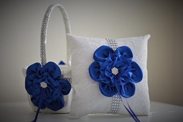 wedding photo - White Royal Blue Ring Bearer Pillow  White Royal Blue Flower Girl Basket  White Royal Blue Wedding Basket Pillow Set  Royal Blue Wedding Pillow