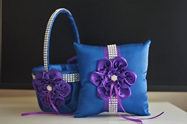 wedding photo - Plum Flower Girl Basket  Blue Ring Bearer Pillow  Plum Blue Wedding Basket Pillow Set, Plum Blue Bearer, Plum Wedding Pillow  Plum Bearer