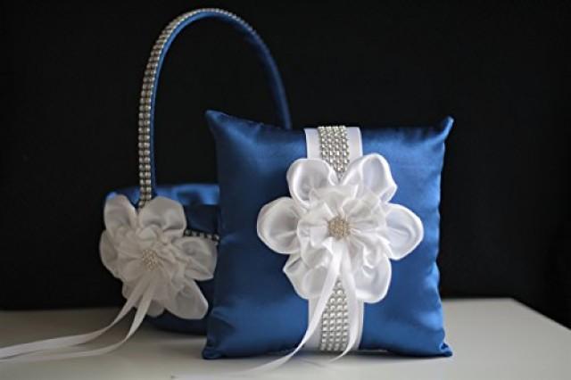 wedding photo - Blue Ring Bearer Pillow  Blue Flower Girl Basket  Royal Blue Wedding Pillow Basket Set  Blue White Basket  Wedding Blue White Bearer
