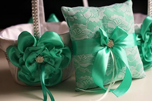 wedding photo - Mint Wedding Pillow Basket Set  White Mint Bearer Pillow   Flower Girl Basket  Mint Wedding Basket   Lace Ring bearer Pillow
