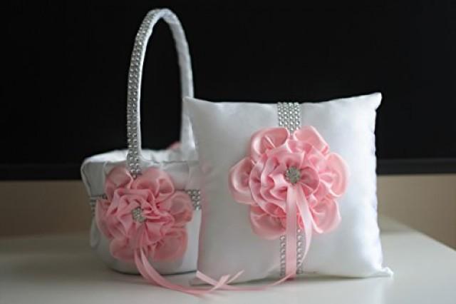 wedding photo - Pink Ring Bearer Pillow  Pink Flower Girl Basket  White Pink Wedding Basket Pillow Set  Pink Wedding Pillow  Baby pink Bearer Basket