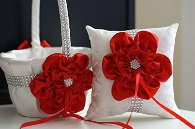 wedding photo - Ivory Red Wedding Basket   Ivory Red Wedding Pillow  Ivory Satin Wedding Flower Girl Basket with Red Satin Flower and Brooch  Wedding Ceremony Red Basket for Flower Girl  Brooch Bearer