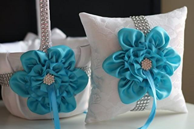 wedding photo - Turquoise Flower Girl Basket  Turquoise Ring Pillow  White Sky Blue Bearer Pillow  Turquoise Wedding Basket Pillow Set  Sky Blue Basket