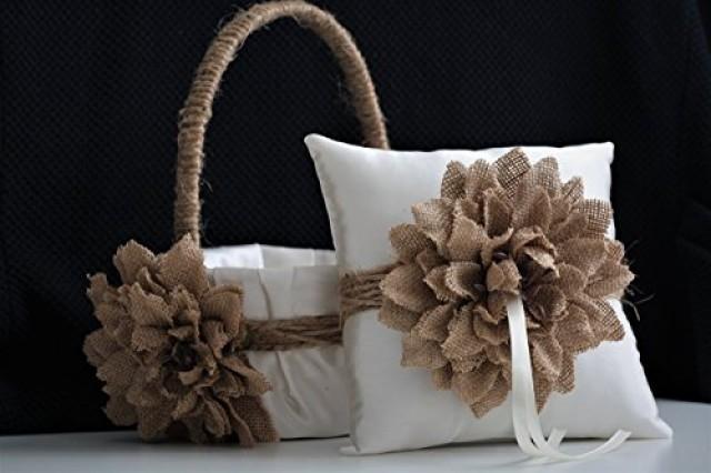 wedding photo - Rustic Ivory Brown Burlap Wedding Flower Girl Basket and Ring Bearer Pillow Set