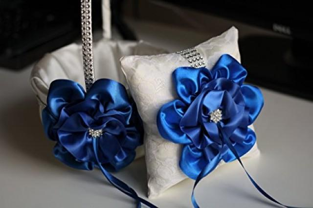 wedding photo - Ivory Royal Blue Wedding Baske and Ring Pillow  Blue Wedding Accessories Set  Basket Pillow Set  Cobalt Royal Blue Flower Girl Basket Bearer Pillow